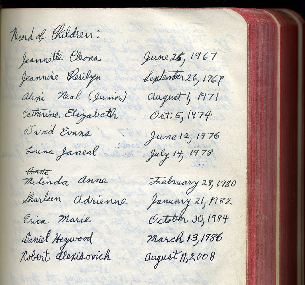 Children's birthdates, all 11, recorded in Bible of 4-in-1 bought 1952